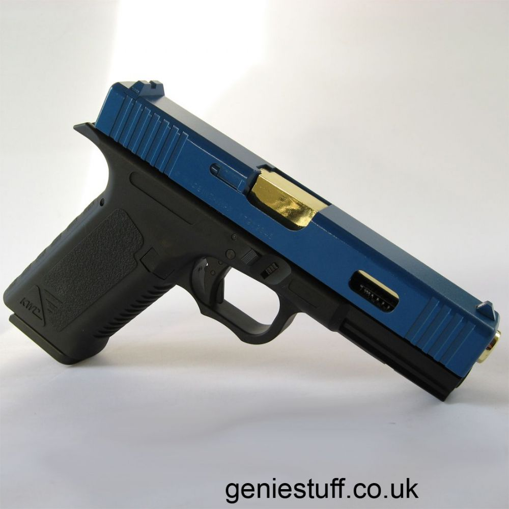 Kwc G17 Co2 Airsoft Pistol Gold Barrel Amp Blue Slide
